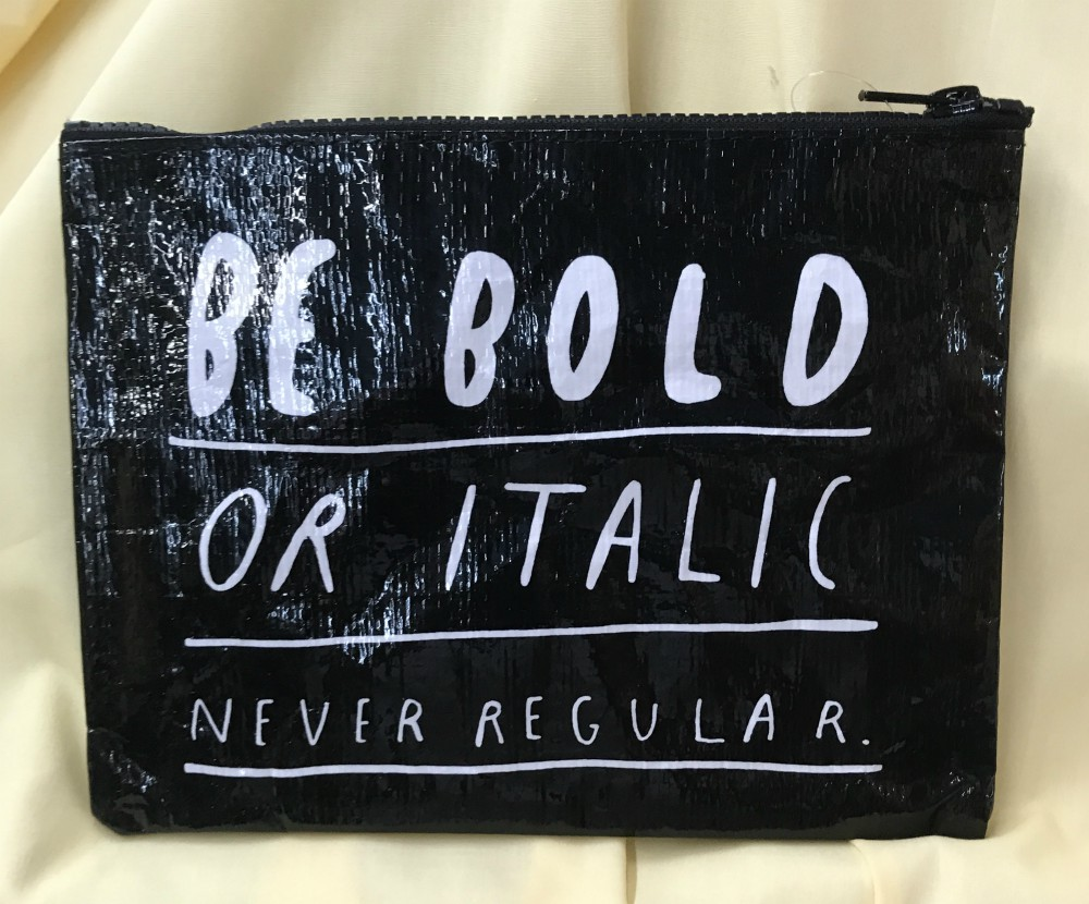 Bold Italic Zippered Pouch